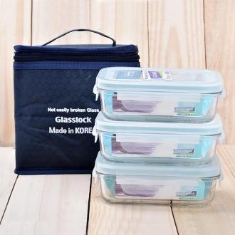Bộ 3 hộp thủy tinh 400ml tặng kèm túi giữ nhiệt