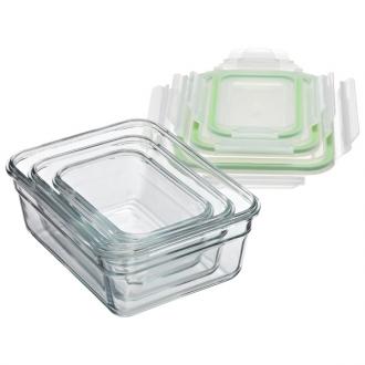 Bộ 03 hộp đựng thực phẩm thủy tinh Glassclock